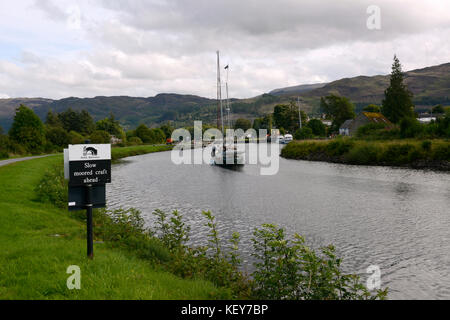 Scotland, UK.  Yacht named Spirit of Worcester cruising on Caledonian Canal near Loch Ness. - Stock Photo