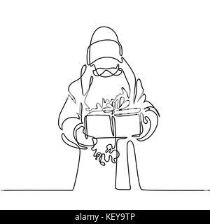 Santa Claus with gift box - Stock Photo