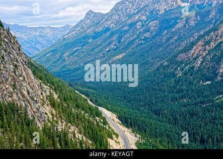 Washington Pass outside North Cascades National Park - Stock Photo