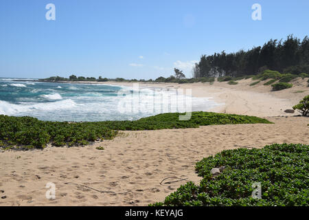 Hiking the Kahuku shoreline on the Oahu's North Shore is a beautiful way to discover Hawaii - Stock Photo