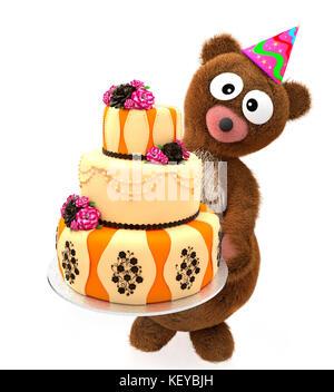 Bear Stuffed Animals with Big Eyes hold Birthday sweet cake. - Stock Photo