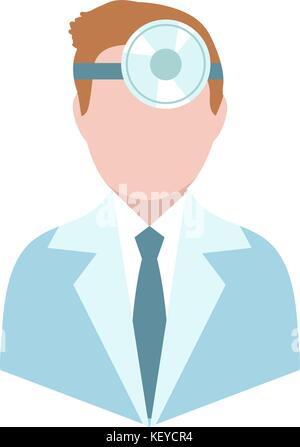 Otolaryngologist, flat style. Doctor treating ear, throat, nose. ENT avatar, isolated on white background. Medicine - Stock Photo