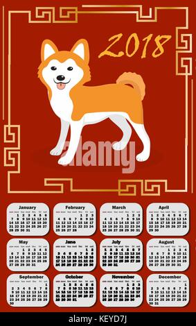 Calendar 2018 in the asia style with dog and Chinese frame. Week starts from monday. Template for your design on - Stock Photo