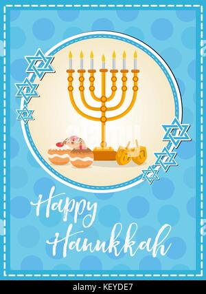 Happy hanukkah greeting card invitation poster jewish festival of happy hanukkah greeting card flyer poster template for your invitation design with m4hsunfo