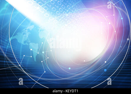 Global Internet Connection Through the World Background - Stock Photo