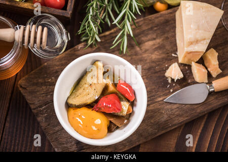 Peppers in olive oil ,spanish tapa bar food. - Stock Photo