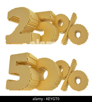 25% and 50%% discount - build from golden cubes - isolated on white background - 3D Rendering - Stock Photo