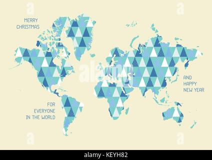 Card atlas map of the world map border card scandinavia stock world map with triangle pattern merry christmas and happy new year greeting card vector gumiabroncs Gallery