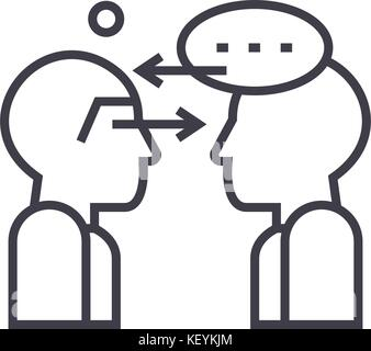 synergy talks linear icon, sign, symbol, vector on isolated background - Stock Photo