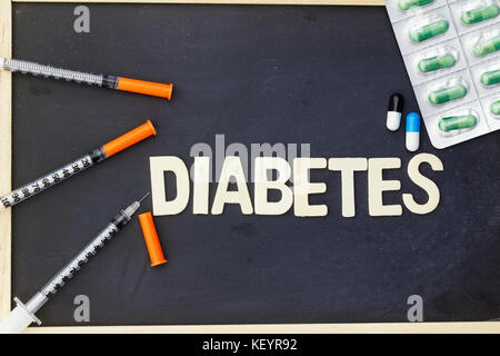 Word DIABETES with insulin syringe and medication - Stock Photo
