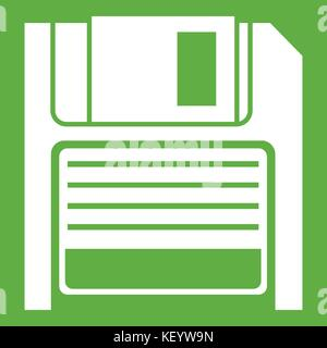 Magnetic diskette icon green - Stock Photo
