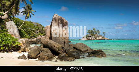 The Seychelles, Mahe, Anse Royale, Ile Souris, beach, granite rock formation panoramic - Stock Photo