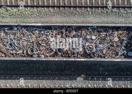 Drone above view on railway wagon filled with scrap metal. Metal recycling - Stock Photo