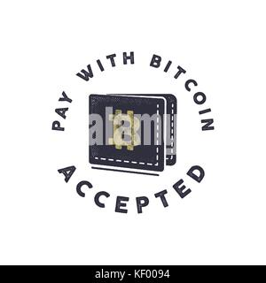 Pay with Bitcoin Accepted emblem. Crypto currencies label and concepts. Digital assets logo. Vintage han drawn monochrome - Stock Photo