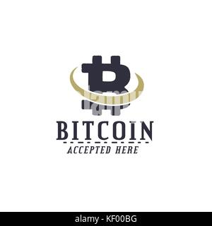 Bitcoin Accepted emblem. Crypto currencies label and concepts. Digital assets logo. Vintage han drawn monochrome - Stock Photo