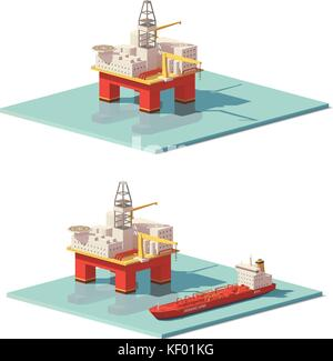 Vector low poly offshore oil rig drilling platform - Stock Photo