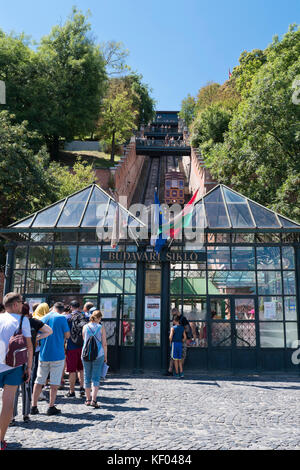 Vertical view of the Funicular Railway ticket office in Budapest. - Stock Photo