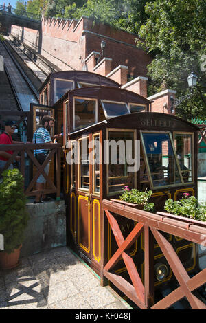 Vertical view of the Funicular Railway in Budapest. - Stock Photo