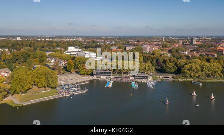 MUENSTER, GERMANY - OCTOBER 14, 2017: Aerial view of Aasee lake in Muenster, North-Rhine Westphalia - Stock Photo