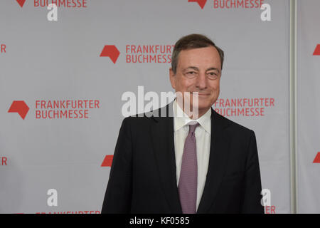 Frankfurt, Germany. 10th Oct, 2017. Mario Draghi (* 1947), President of the European Central Bank (ECB), arriving - Stock Photo