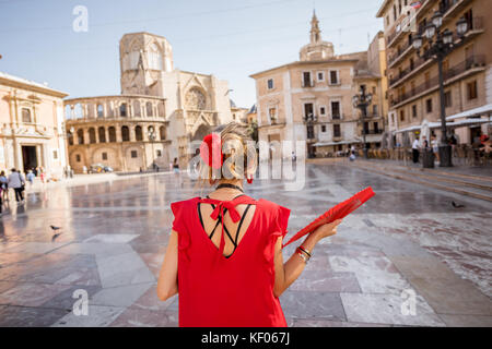 Woman traveling in Valencia city - Stock Photo
