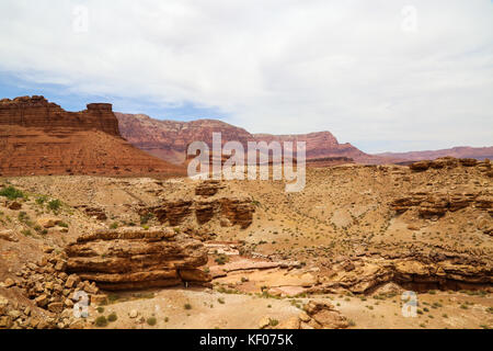 Vermillion Cliffs west of the Navajo Bridge Interpretive Center, Marble Canyon, AZ - Stock Photo