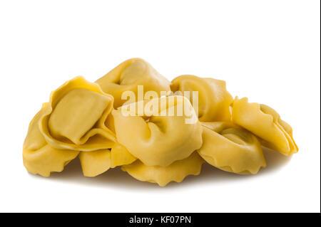 Italian traditional tortellini pasta isolated on white background. - Stock Photo