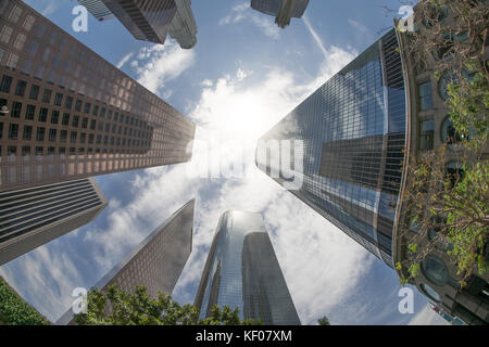 Looking up at the skyscrapers of the financial district of downtown Los Angeles, California.  All logos removed. - Stock Photo