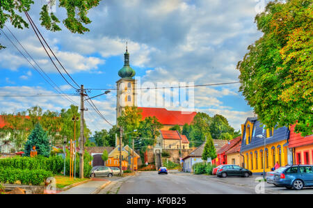 Church in Cachtice town, Slovakia - Stock Photo