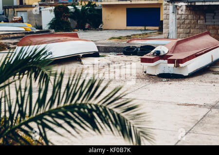 BUDVA, MONTENEGRO - AUGUST 16, 2017: old boats  in Budva - Stock Photo