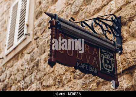 BUDVA, MONTENEGRO - AUGUST 16, 2017: sign in old town in Budva - Stock Photo