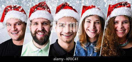 People wearing Santa hat - Stock Photo
