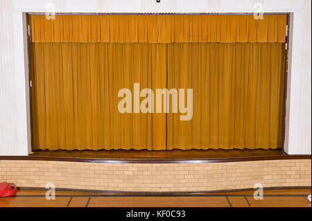 Great Drawn Retro Style Curtains On Small School Assembly Stage With No People.    Stock Photo