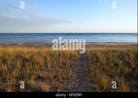 A worn path through beach grass leading towards a calm empty, peaceful lake scene with no people in Michigan. - Stock Photo