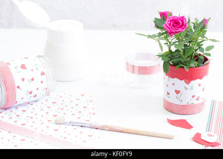 Decorating glasses with decoupage - Stock Photo