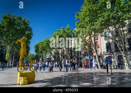 performance artist at famous las ramblas pedestrian avenue landmark in downtown barcelona city spain - Stock Photo