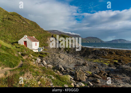 Fisherman's cottage at Niarbyl Bay, Isle of Man. - Stock Photo