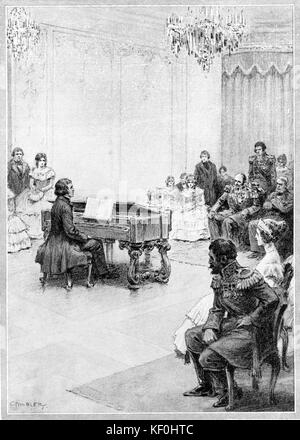 Franz Liszt: A rebuke to the Tsar of Russia. When giving a recital at the Russian Court, Liszt became so annoyed - Stock Photo
