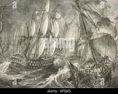 Battle of Quiberon Bay, 20 November 1759 - Stock Photo