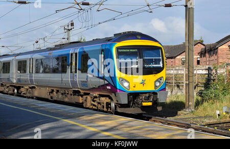 TransPennine Express Class 185 (for Manchester Airport) approaching Northallerton Railway Station, North Yorkshire, - Stock Photo