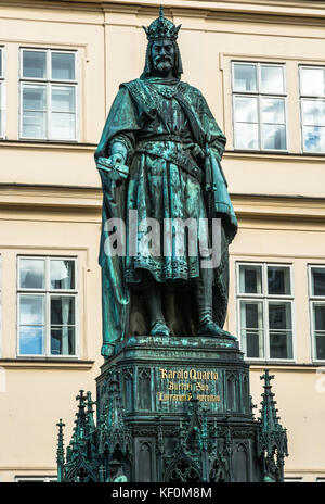 Prague, Czech Republic: Statue of Emperor Charles IV, the Holy Roman Emperor and King of Bohemia, designed by Arnost - Stock Photo