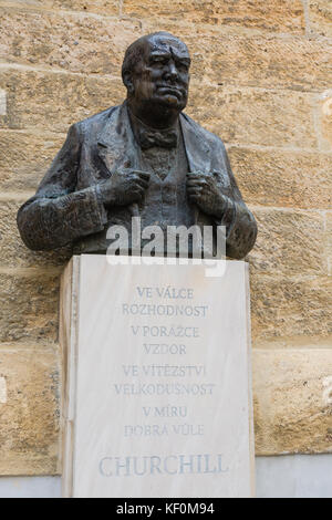 Prague, Czech Republic - October 7, 2017: Memorial statue of Winston Churchill - Stock Photo