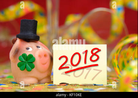 marzipan lucky charm for new year 2018 - Stock Photo