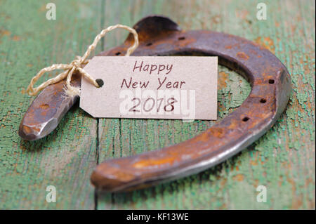 horseshoe as talisman for good luck at new year 2018 - Stock Photo