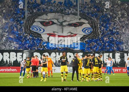 Magdeburg, Germany. 24th Oct, 2017. DFB-Pokal Soccer match, Magdeburg, October 24, 2017 Magdeburg fans celebrating - Stock Photo