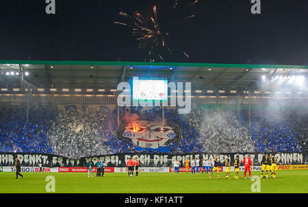 Magdeburg, Germany. 24th Oct, 2017. DFB-Pokal Soccer match, Magdeburg, October 24, 2017 Magdeburg fans celebrating - Stock Photo