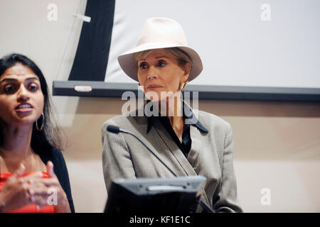 Jane Fonda speaks at the ROC United economic inequality meeting at Roosevelt House in New York City, NY, USA, October 24, 2017.