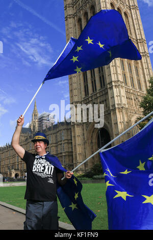 London UK. 25th October 2017. A Pro-Europe protester waves European flags  outside the Palace of Westminster campaigning - Stock Photo