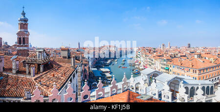 venice Italy venice Panoramic aerial view of grand canal venice rooftops venice skyline from the Fontaco dei Tedeschi - Stock Photo
