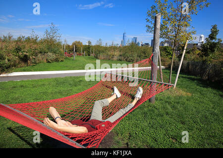 Hammock cove in The Hills Park on Governors Island, New York City - Stock Photo